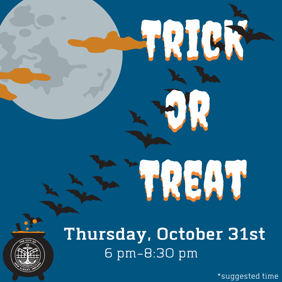 spooky graphic saying Trick or Treat –Thursday, October 31 from 6 pm to 8:30 pm