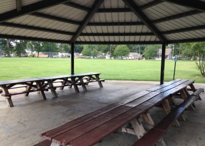 shelter with benches under it