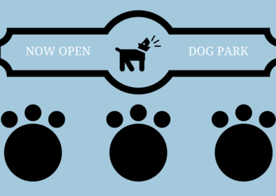 now open, dog park sign